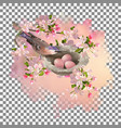 spring apple blossom and bird vector image vector image