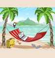 travel poster office on a tropical island remote vector image