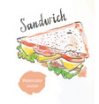 triangular sandwich watercolor vector image vector image