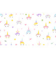 unicorn faces pattern cute magic background vector image vector image