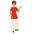 woman in 1970s style outfit 70s fashion hippie vector image vector image