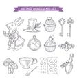 Wonderland hand drawn set of design elements vector image vector image