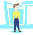 young man cartoon character standing over abstract vector image