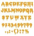 Caramel alphabet isolated on white background vector image