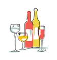 Wine bottle glass silhouette vector image