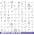 100 accessories icons set outline style vector image vector image