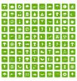 100 mushrooms icons set grunge green vector image vector image