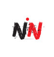 alphabet letter combination nn n n with grunge vector image vector image