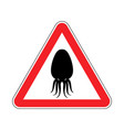 attention cuttlefish octopus on red triangle road vector image vector image