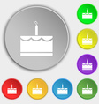 Birthday cake icon sign Symbol on eight flat vector image