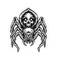 black spider skull silhouette vector image