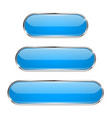 blue oval buttons 3d glass menu icons with metal vector image
