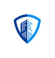 building cityscape shield secure business logo vector image vector image