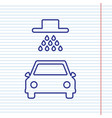 car wash sign navy line icon on notebook vector image