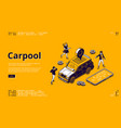 carpool isometric landing page car for joint trip vector image vector image