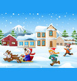 cartoon boy riding sled on the snowing village wit vector image vector image