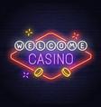 casino neon sign slots pocker neon sign vector image
