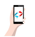 cell phone with arrows in human hand isolated on vector image vector image