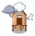 chef with food chicken in a on charater coop vector image