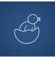 Chick peeking out of egg shell line icon