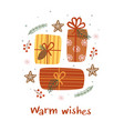 christmas card with gifts and gingerbread vector image vector image