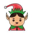 color pencil cartoon half body christmas elf with vector image vector image