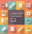 computer components icon set vector image
