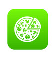 delicious italian pizza lifted slice one icon vector image vector image