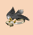 eagle bird for tattoo in vintage style retro old vector image