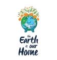 Earth globe cartoon card vector image