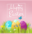 easter background eggs on grass with spring vector image