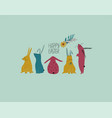 easter greeting card with cute rabbits vector image