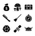 fairy tale glyph icons set vector image