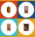 flat icon door set of entry door saloon and vector image vector image