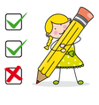 Girl filling a questionnaire vector image vector image