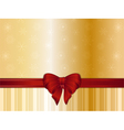 Gold Christmas background and bow vector image vector image