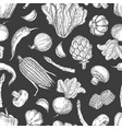 hand drawn vegetables vintage seamless pattern vector image