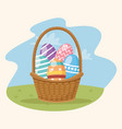 happy easter card with eggs painted in basket vector image vector image