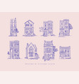 house vintage style blue lines vector image