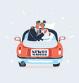 just married couple in car vector image vector image