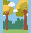 landscape meadow bush trees sky scene vector image