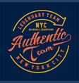 legendary team nyc authentic vector image vector image