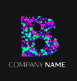 letter b logo with pink purple green particles vector image vector image