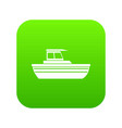 motor boat icon digital green vector image vector image