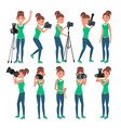 photographer woman hotographer making vector image