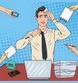 pop art nervous businessman multitasking worker vector image