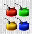 portable gasoline tank in four colors vector image vector image