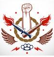 revolution and riot aggressive emblem or logo vector image vector image