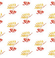 rowan branches seamless pattern white background vector image vector image