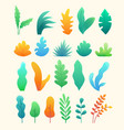 set of abstract colorful leaves and trees in flat vector image